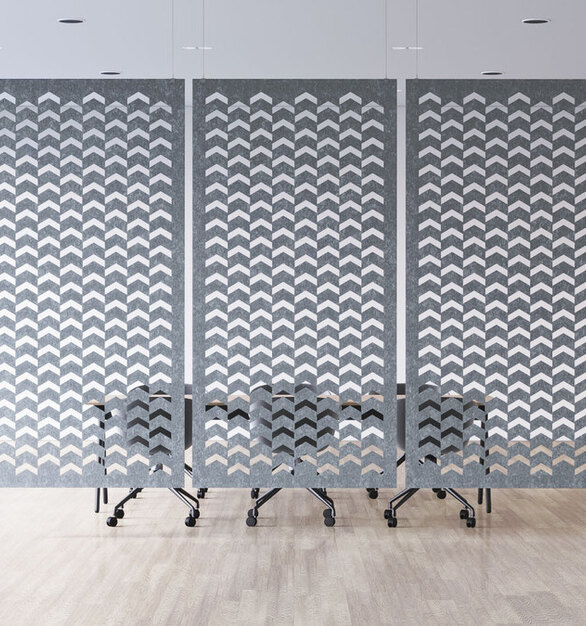 Hanging room dividers, the acoustic Addo Panels are shown here in this open conference room space. These dividers beautifully add visual and acoustic privacy to the open office environment.