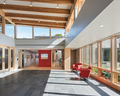 The vast lobby area at Eastham Public Library featuring Architect Series® Traditional windows by Pella.