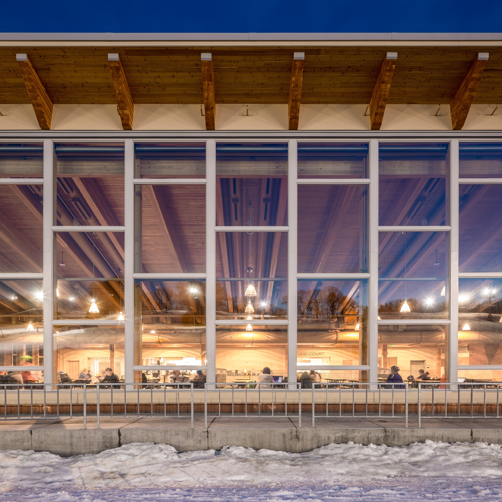 The window wall at Hyland Ski Chalet gives the building a modern, clean look. Pella provided Pella® Support Products for the project.