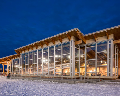 The expansive window wall at Hyland Ski Chalet creates a long-lasting modern look. Pella provided the window fixtures on this project.