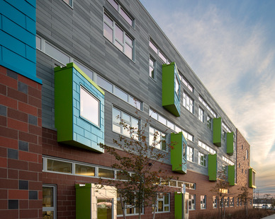 The various materials used for the building exterior compliment the unique awning window fixtures built throughout the school. Pella's Architect Series® Traditional windows helped achieve the desired look and function.