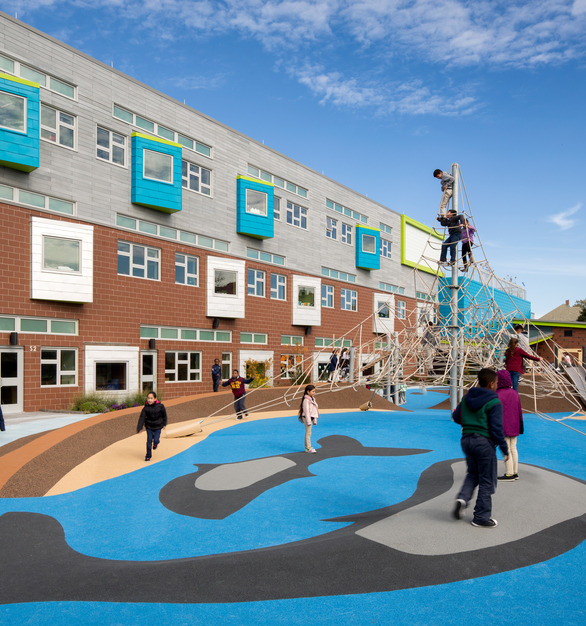 The spacious playground at Irwin M. Jacobson Elementary where you can see the various awning window systems by Pella, using their Architect Series® Traditional fixtures.