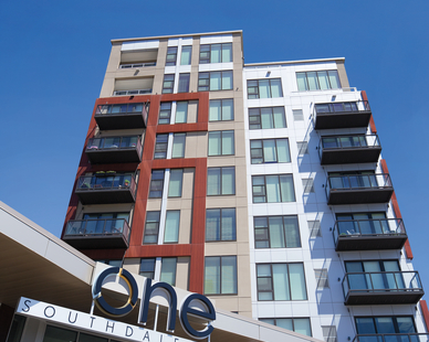 One Southdale Place's construction features 232 units spread over three buildings, and Pella was tasked with providing their Pella® Impervia® windows and patio doors for the project.