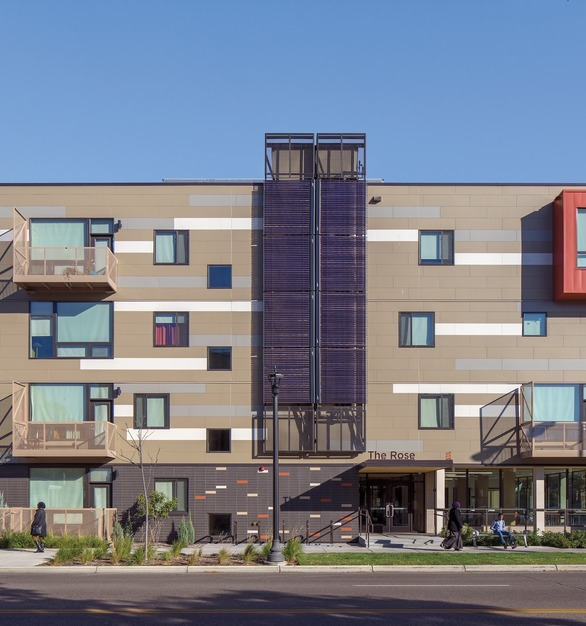 The exterior tile facade and finish of The Rose Apartments in Minneapolis, MN, featuring the Pella® Impervia® windows.