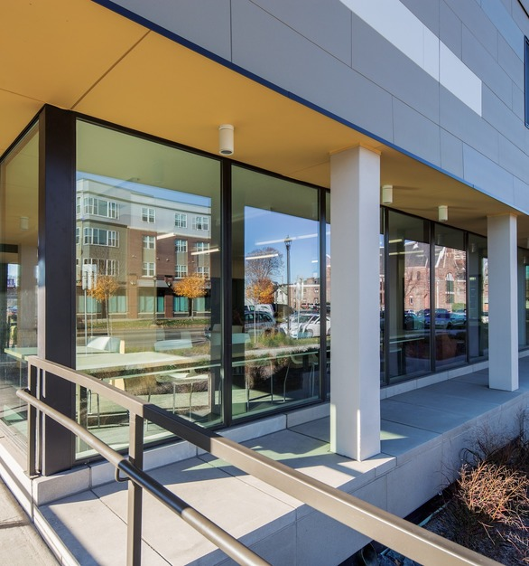 The expansive windows allow guests and tenants to enjoy the view at The Rose in Minneapolis, MN. Pella® Impervia® windows were used throughout the building.