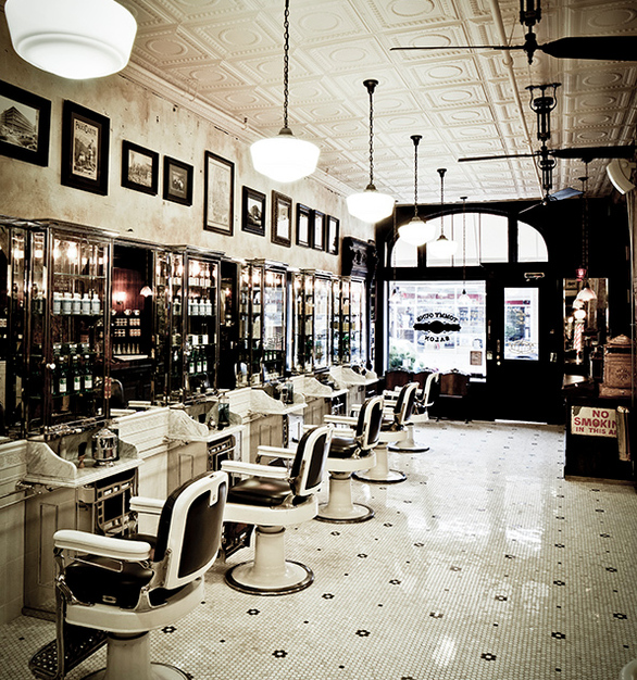 Admire the tin tile ceiling, vintage lighting and fans while getting yourself pampered at this salon.