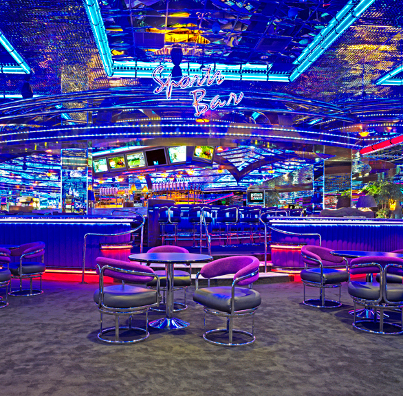 Stylish seating provided by Gasser Chairs at Peppermill Casino Sports Bar.