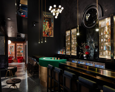 Twofold Studios created a luxurious Art Deco bar at the Chicago Magic Lounge