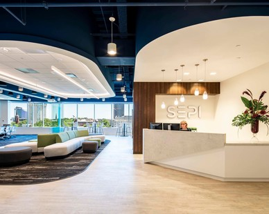 The welcoming reception and lobby area at SEPI headquarters in Raleigh, North Carolina, by Phillips Architecture.