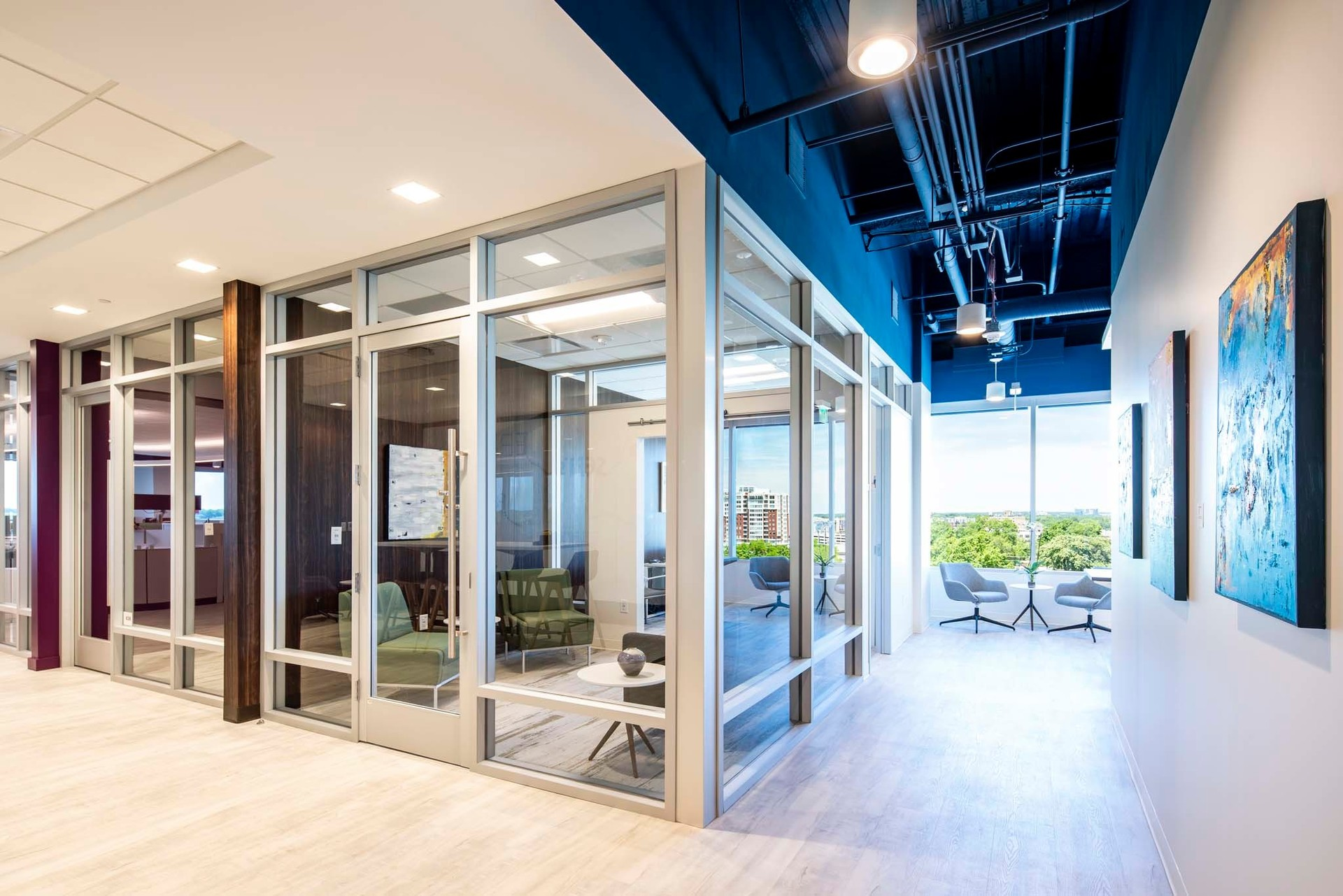Private offices with a view at SEPI Headquarters in Raleigh, North Carolina, by Phillips Architecture.
