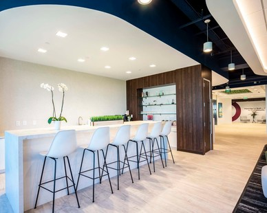The work lounge and cafe space at the SEPI headquarters in Raleigh, North Carolina, by Phillips Architecture.