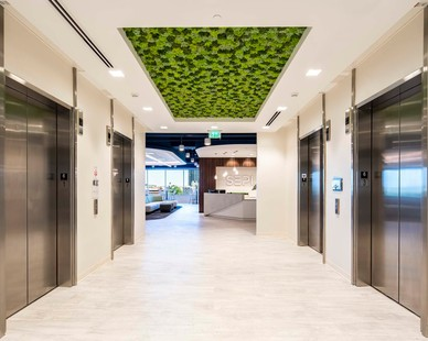 Elevator lobby design with a moss ceiling at SEPI headquarters in Raleigh, North Carolina, by Phillips Architecture.