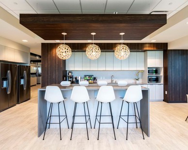 The modern break room design at the SEPI headquarters in Raleigh, North Carolina, by Phillips Architecture.