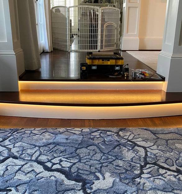 Dot free 2700k led strip on staircase