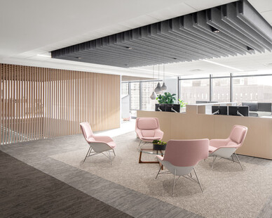 Federal Home Loan Bank's (FHLB) understanding of the impact that space has on employee performance was the common thread in the decisions that drove the success of the final project.  Photography Credit: Ford & Brown