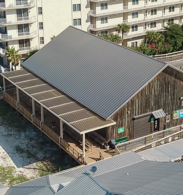 Aerial view of the Louvered Roof at Pineapple Willy's Restaurant.