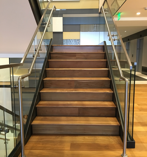 Reclaimed Teak flooring and stair treads.