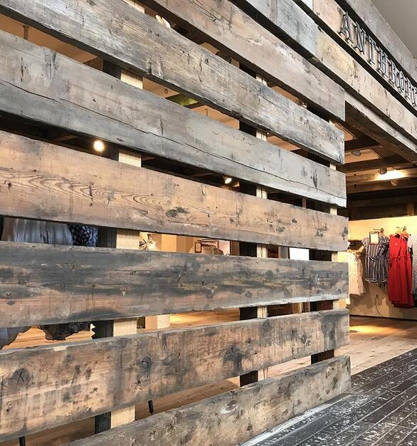 Pioneer Millwork reclaimed As-Found Industrial Timbers in Anthropologie, Natick, MA.