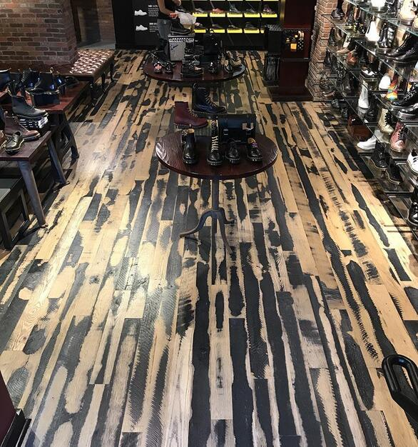 Pioneer Millworks Black & Tan–50/50 Mixed Oak, site-finished with a water-based poly.