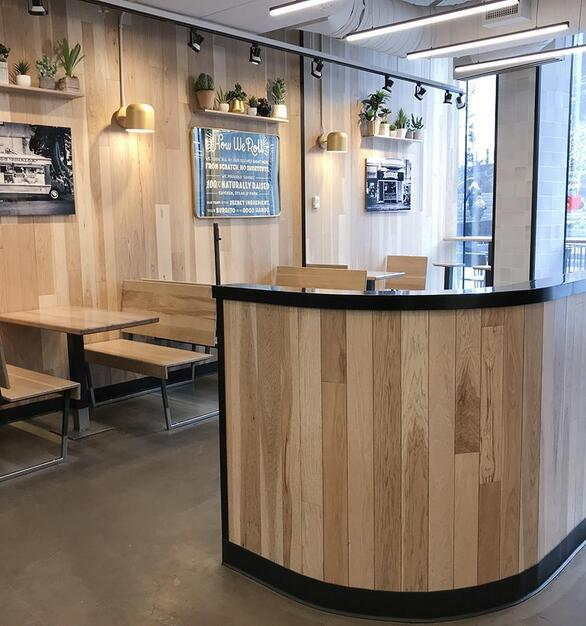 Pioneer Millworks Modern Farmhouse Hickory with a custom finish on walls in Dos Toros, Chicago—Hancock Building