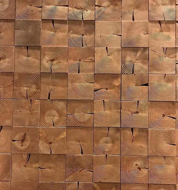 Pioneer Millworks reclaimed custom Douglas fir end block wall