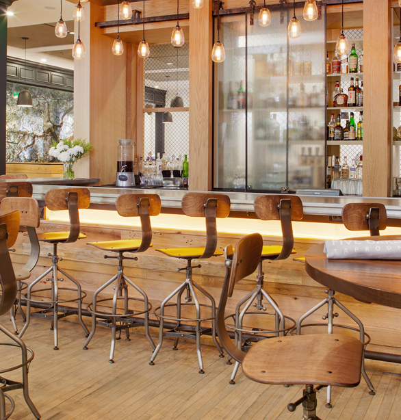 Mid character oak wraps around this hotel bar in Savannah, GA.