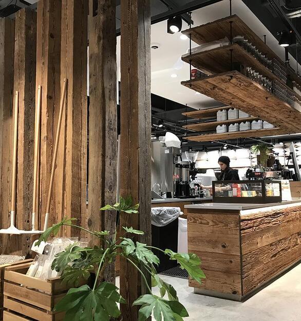 Pioneer Millworks reclaimed Hemlock Timbers and Mushroom Board paneling
