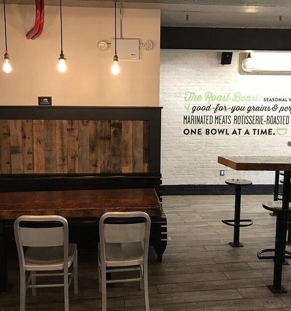 Roast Kitchen paneling of Mixed Oak Railyard Patina in NYC.