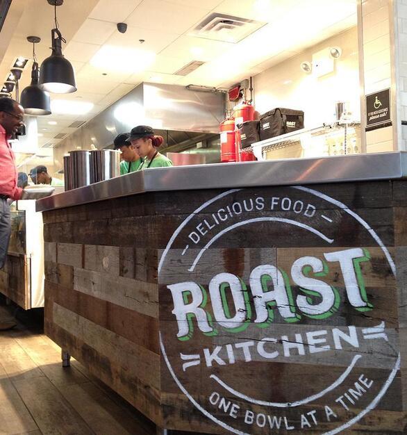 Mixed Oak Railyard Patina counter wrap at Roast Kitchen in New York City.