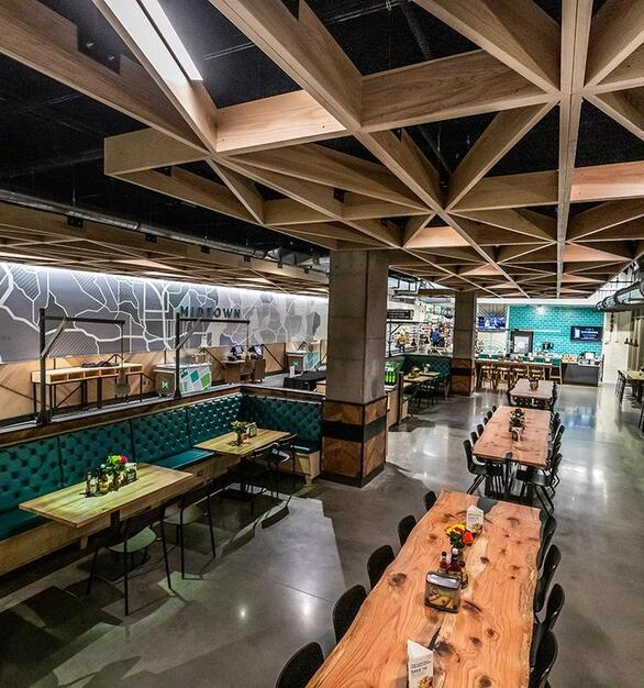 Pioneer Millworks Whole Modern Farmhouse Clean Ash accent ceiling installation with poly and fire retardant in Whole Foods, Atlanta, GA