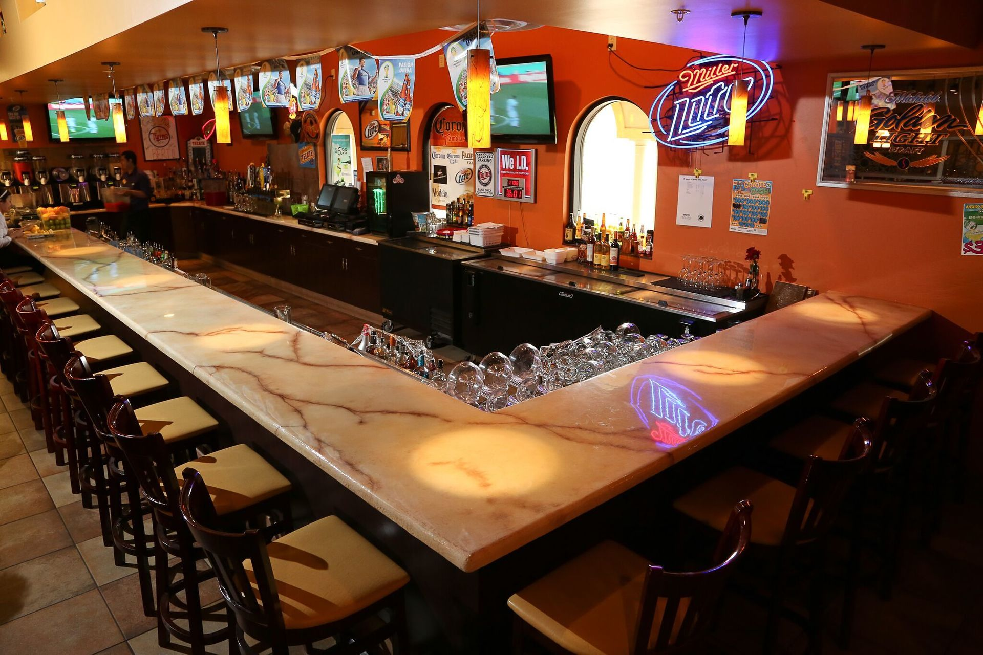 Granicrete provided concrete overlay counters were selected for durability and the NSF (National Sanitation Foundation) certification, which means no bacteria or staining. Easy maintenance and all custom designed countertops for Plaza Mareno in Owatonna, MN.