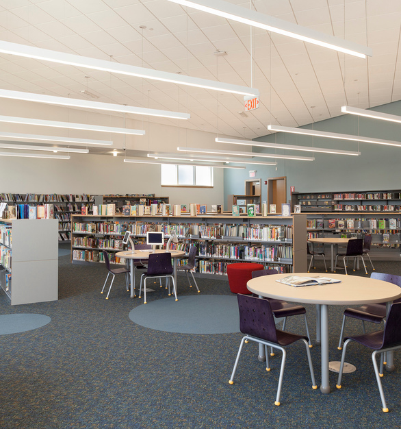 Proper lighting is crucial to the overall success of a library. Sladen Feinstein lighting design team specified Fluxwerx's Profile LED luminaires to create a glare-free and visually comfortable reading and study environment.  Selected 40/60 and 100 down distribution options allowed the design team to opt for a variety of lighting schemes, providing good lighting on stacks at moderate cost and with reasonable energy use.