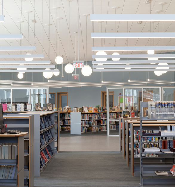 Proper lighting is crucial to the overall success of a library. Sladen Feinstein lighting design team specified Fluxwerx's Profile LED luminaires to create a glare-free and visually comfortable reading and study environment.