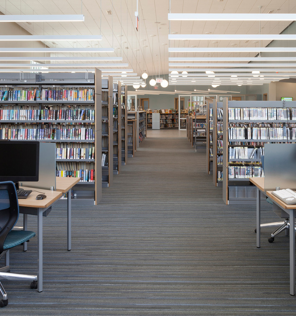 Proper lighting is crucial to the overall success of a library. Sladen Feinstein lighting design team specified Fluxwerx's Profile LED luminaires to create a glare-free and visually comfortable reading and study environment.  The small aperture and high output of Profile fixtures made them a design-conscious and efficient choice.