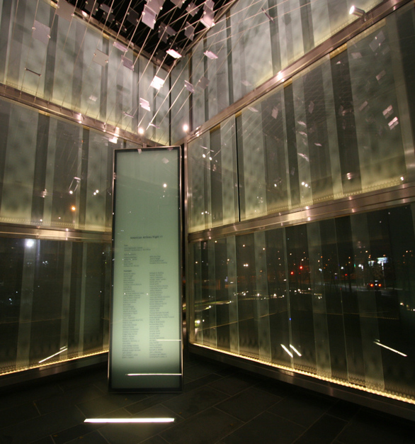 The soft glow of the 9/11 Memorial at the Logan Airport in Boston, Massachusetts is achieved with the Prolume RIA fixture to appear to make the memorial glow with a subtle, even light.