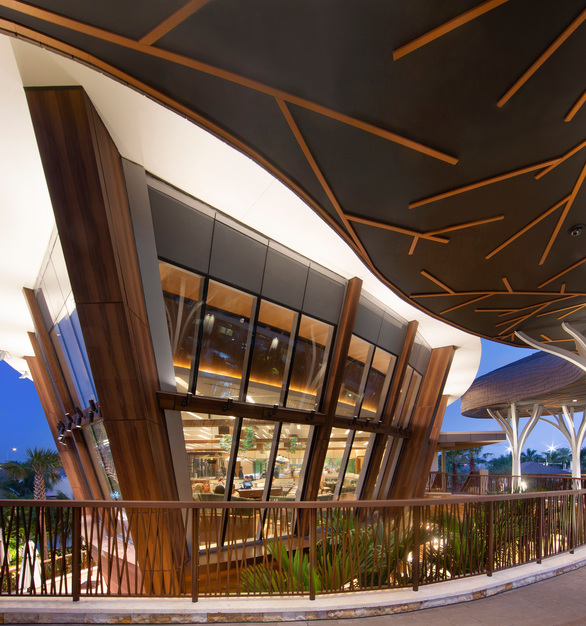 Pure + FreeForms Matte Custom Woodgrain panel finish is featured on the exterior wall and column covers of the Seminole Hard Rock Hotel & Casino facade.  Photography Credit: Courtesy Miami In Focus