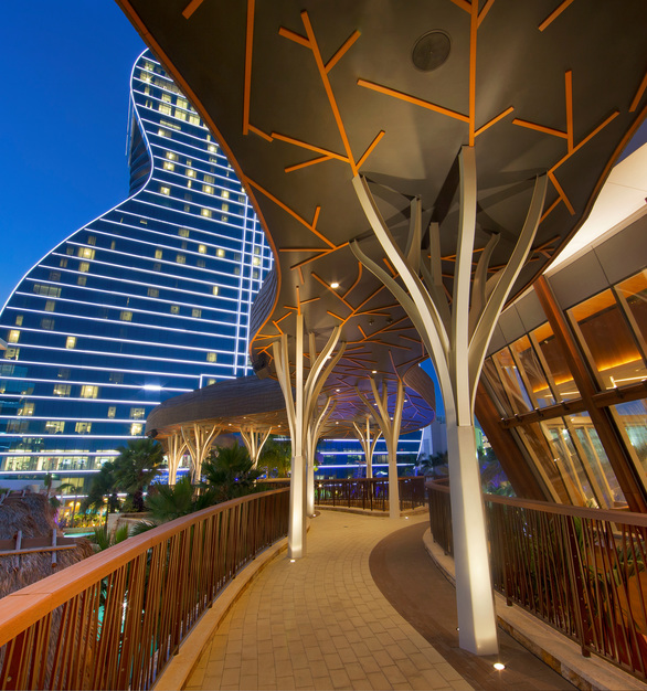 The Custom Woodgrains panel finishes on the exterior walls of the Hard Rock Hotel & Casino is from Pure + FreeForms Wood & Stone Solutions Collection.  Photography Credit: Courtesy Miami In Focus