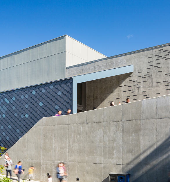 Three custom variations blue from Pure + FreeForms Graphic Collection recall the colors of the sea and give a cooling effect on the bold facade of the Point Defiance Zoo & Aquarium.  Photography Credit: Josh Partee