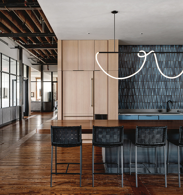 Pure + FreeForm's stunning Cyber Slate panel finish is a contemporary interpretation of patinated zinc with a pearlescent topcoat and complements the industrial design of the new Penrose office wonderfully.