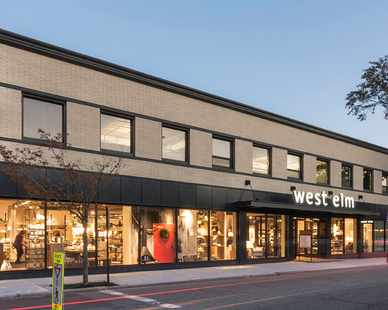 Featured on the exterior of the Providence, RI, West Elm retail store is Pure + FreeForms stunning Hot Rolled Ultra Gloss cladding panels.