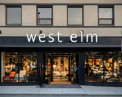 Featured on the exterior of the Providence, RI, West Elm retail storefront design is Pure + FreeForms stunning Hot Rolled Ultra Gloss cladding panels.