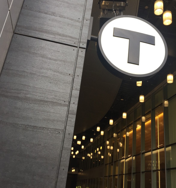 Pure + FreeForm North Station Face Fastened Frozen Titanium Signage