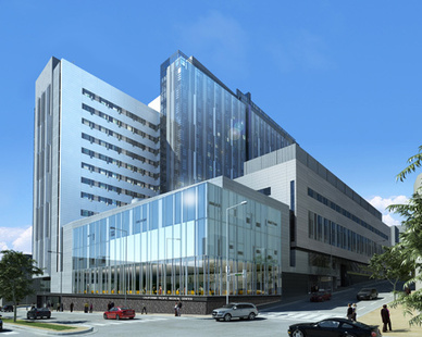 State-of-the-art design hospital with lots of windows for natural light.  QuietRock installed their ES Sound Reducing Drywall to Maximize usable floor space and build in less time with less labor.  It is also a cost effec