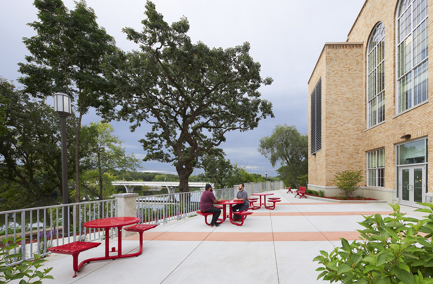 The patio offers views of the Mississippi River and offers a calm and inviting place for students to talk, eat, relax or study.