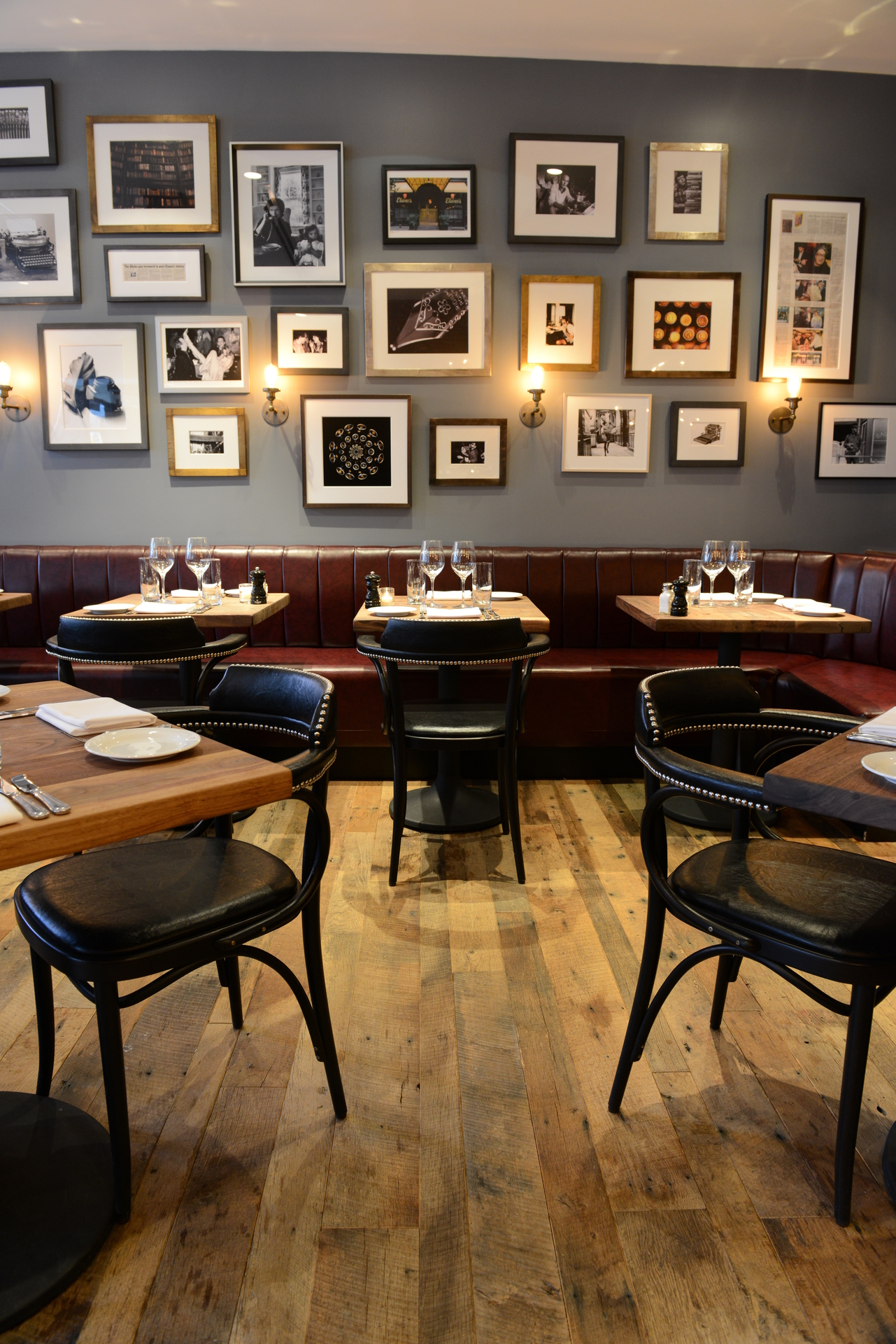 The beautiful reclaimed timber flooring is perfect for this restaurant.
