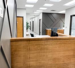 Red Door Construction Infinite Recycled Tech Headquarters Reception Desk Design