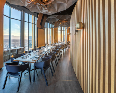 Located on the top floor of the tower, the restaurant 71Above was conceived by renowned restaurateur Emil Eyvazoff, offering high-end cuisine served alongside astonishing views of the city.   Giroux Glass was commissioned to realize the space's intricate 360-degree window design.