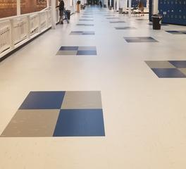 Rikett America Evergreen High School Education Design Hallway Quartz Tile Flooring