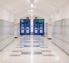 Rikett America High School Hallway Lockers Tile Flooring