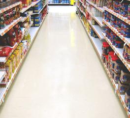 Rikett America Sears Retail Store Interior Grocery and Snack Aisle Quartz Flooring